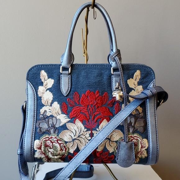 Alexander McQueen Handbags - Alexander McQueen V2VCO Padlock Small Denim Satche